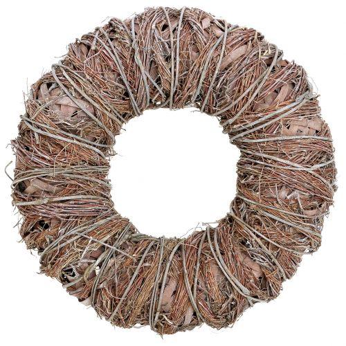 Decorative wreath nature Ø43cm washed white