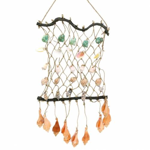 Decorative net for hanging with natural shells 25 × 45cm