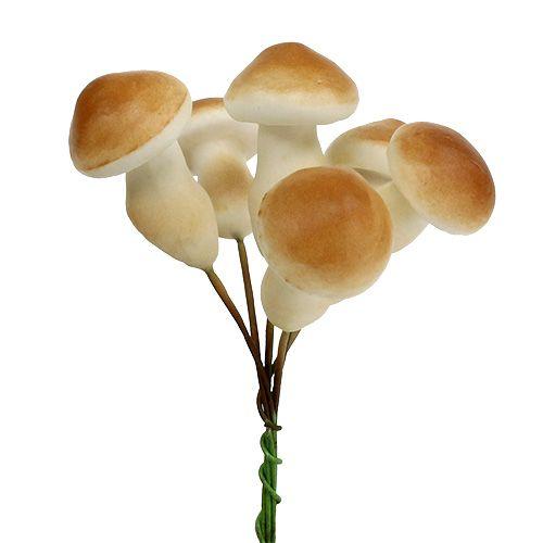Decorative mushroom on wire 3cm - 5cm 24pcs