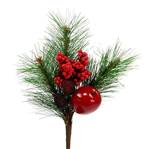 Deco pine branch with apple 28cm 1pc