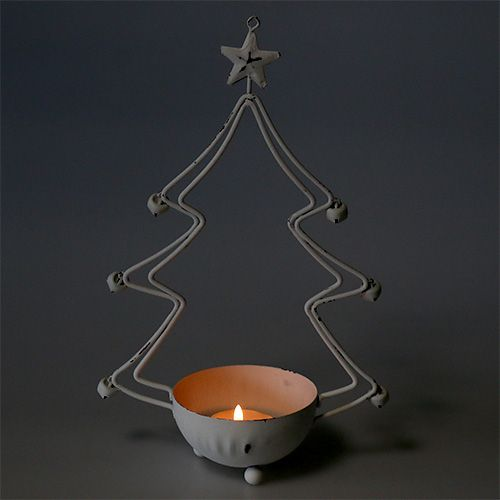 Deco tree with bowl for tealight white 25cm 2pcs