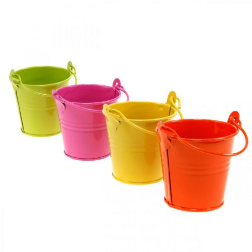 Decorative bucket colored metal bucket planter assorted Ø6cm H6cm 12pcs