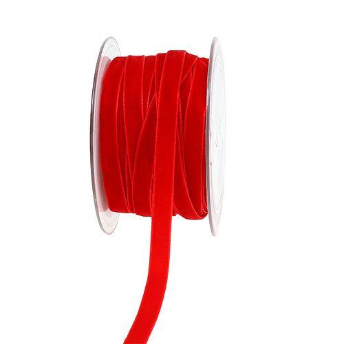 Decorative ribbon Velvet red 10mm 20m