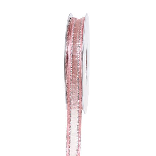 Deco ribbon pink with lurex stripes in silver 15mm 20m