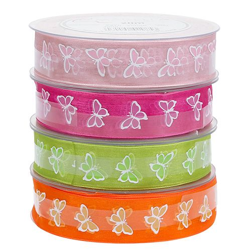 Decorative ribbon with butterfly motif 25mm 20m