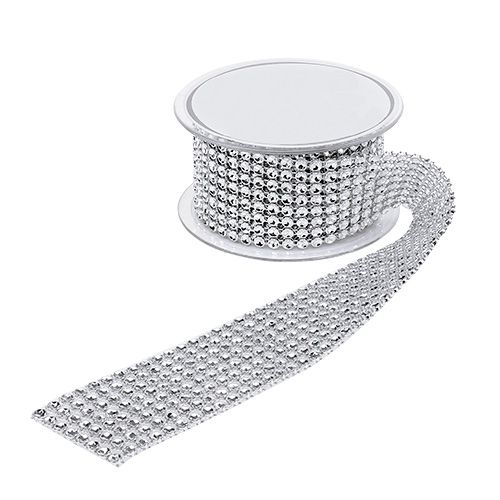 Gift ribbon for decoration with road effect silver 40mm 2m