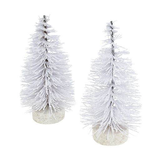 Deko tree glazed white H14cm 4pcs