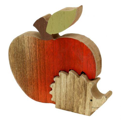 deco figurine apple with hedgehog red, nature 13cm 3pcs