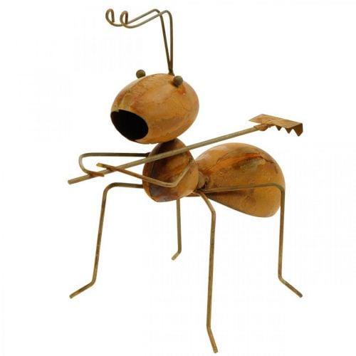 Decoration figure ant metal with rake garden decoration rust 21.5cm