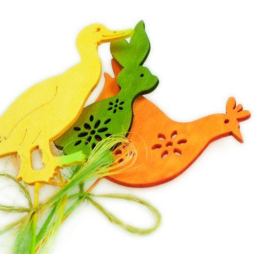 Decoration figures on the stick wood colorful H6cm - 8cm 16pcs