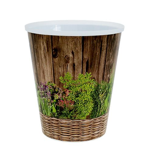 Pot  with Pattern Herbs Ø12cm H13,5cm, 1pc