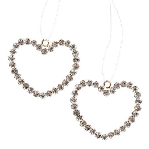 Decorative heart gold for hanging with rhinestones 6pcs