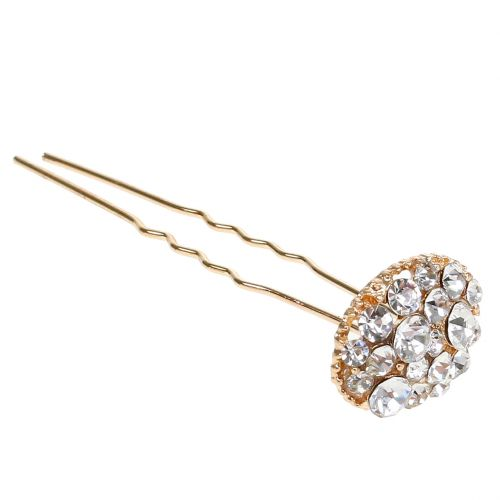 Hairpin Wedding Gold with Rhinestones 7cm 9pcs