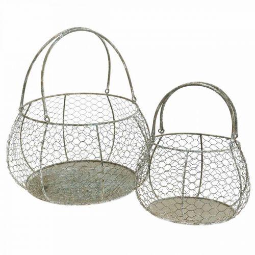 Wire basket Shabby Chic wire basket garden decoration Ø37 / 26cm set of 2