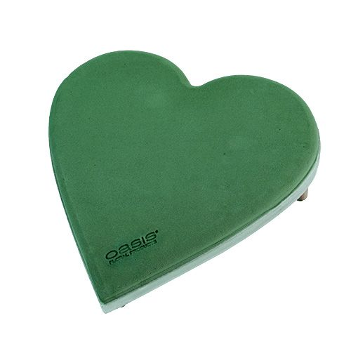 Floral foam heart with click system green 20cm 2pcs