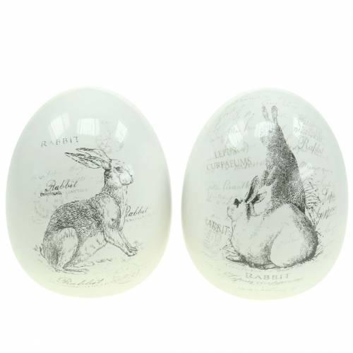 Egg ceramic white rabbit Ø12.5cm H16cm 2pcs