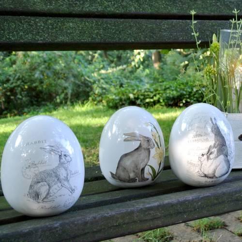 Egg ceramic white with rabbit motif Ø12.5cm H16cm 2pcs