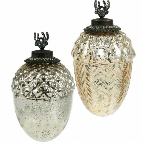 Decorative acorn for hanging glass 15cm champagne 2pcs in a set