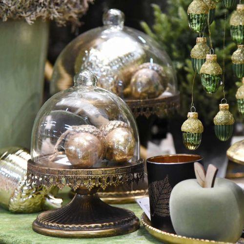 Decorative pendant acorn, autumn fruits, Christmas tree decorations with gold decor H8cm Ø6cm 4pcs