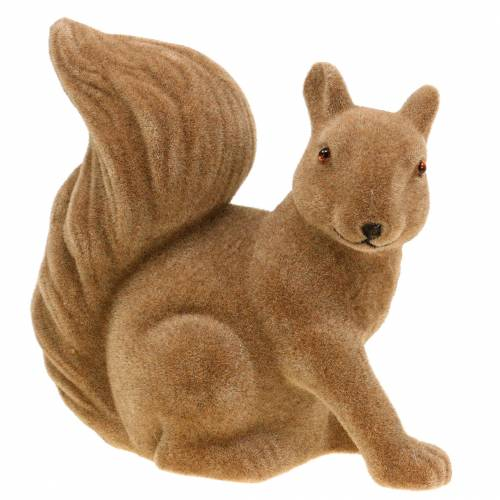 Deco squirrel flocked Brown H20cm 2pcs