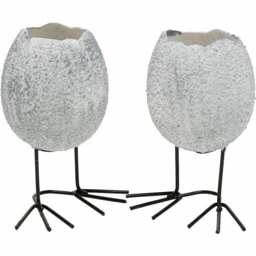 Eggshell for planting, Easter decoration, planter, decorative egg white silver 4pcs