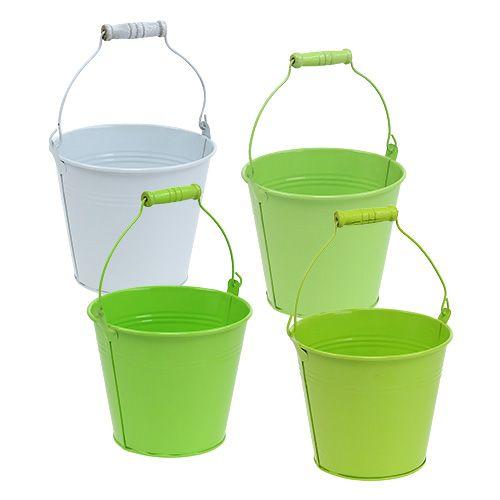 Bucket Green Mix Ø14cm H12cm 6pcs