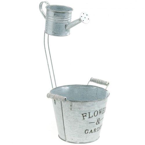 Decorative plant pot, bucket with jug, plant jug, metal bucket H38cm Ø16.5cm / Ø7cm