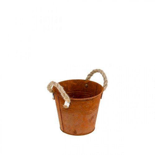 Plant pot, autumn decoration, metal vessel with patina Ø14cm H12cm