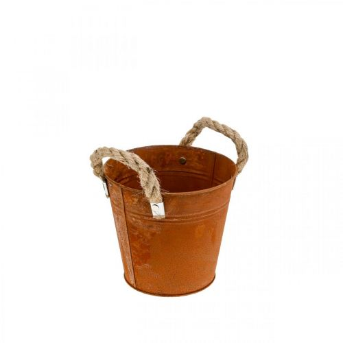 Metal pot with handles, herb pot, rust decoration Ø16.5cm H15cm