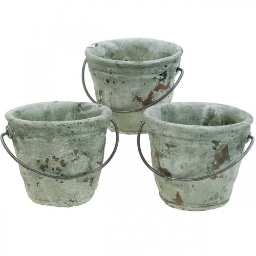 Bucket for planting, ceramic vessel, bucket decoration, antique optics Ø11.5cm H10.5cm 3pcs