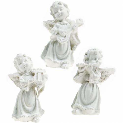 Decorative angel with instruments white H4.5cm 9pcs