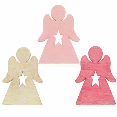 Wooden Angel for Sprinkling Pink, Pink, White 4cm 72pcs