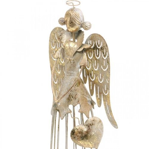 Angel figure with heart, Christmas decoration made of metal, decoration angel antique-golden H38cm