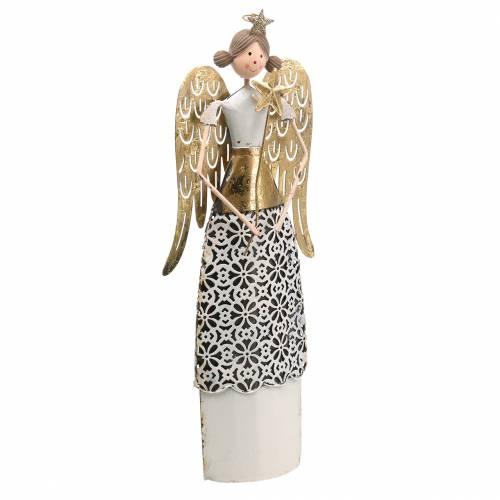 Decorative angel metal white, golden Ø10cm H32cm