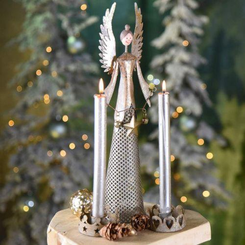 Decorative angel figure with garland Christmas metal 13 × 8.5cm H40cm