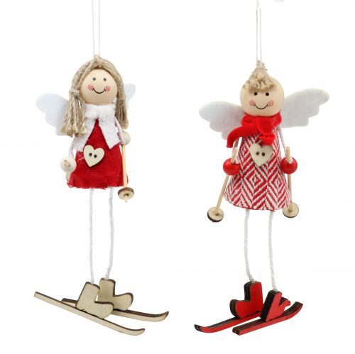 Christmas Decoration Angel Red, white 15cm 4pcs
