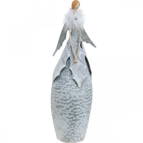 Decorative angel figure with feather boa gray metal decoration Christmas 38cm