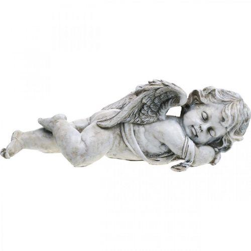Grave decoration angel sleeping Grave angel gray polyresin 39 × 14x13cm