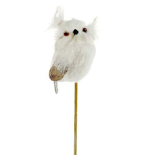 Owl on the rod white 9cm L48cm