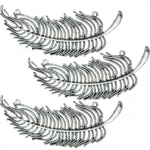 Feathers for decorating, scattered decoration, metal feathers, jewelry making silver L8cm 10pcs