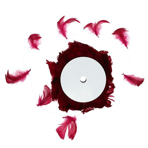 Feathers on wire Raspberry red 10m