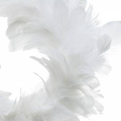 White feather wreath decoration Ø25cm Easter decoration Real feathers