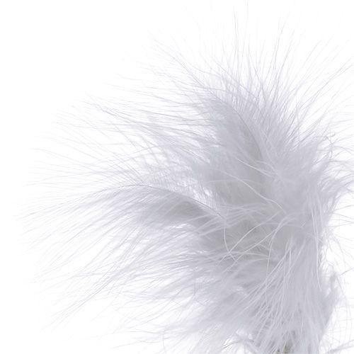 Feathers on sticks White L35cm 12pcs