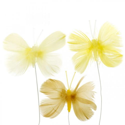 Decorative butterflies on a wire, spring decorations, feather butterflies in shades of yellow 6pcs