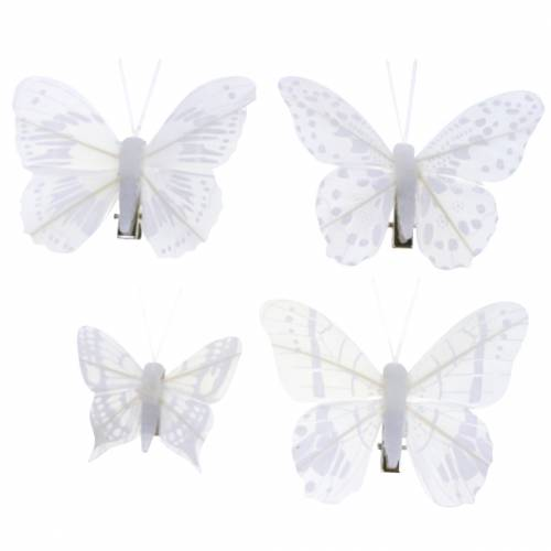 Feather butterfly on clip white 6cm 10 pieces