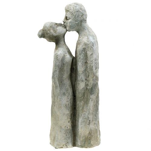 Decorative figure kissing couple stone cast 40cm