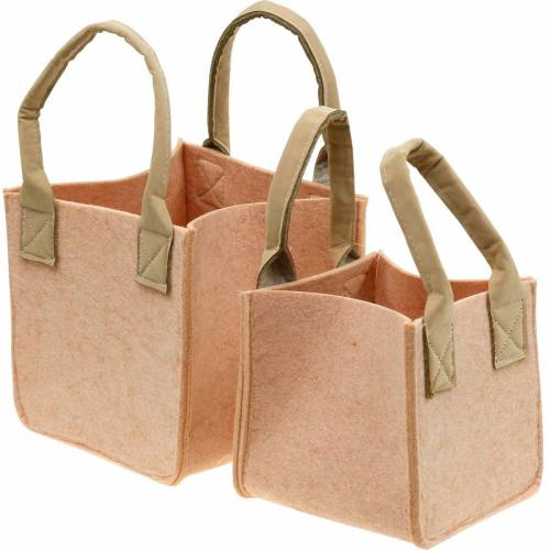 Felt planter pink felt bag with handles felt decoration set of 2