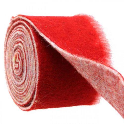 Felt ribbon decoration two-tone red, white Pot ribbon Christmas 15cm × 4m