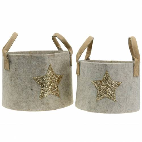 Felt bag round with sequin star set of 2