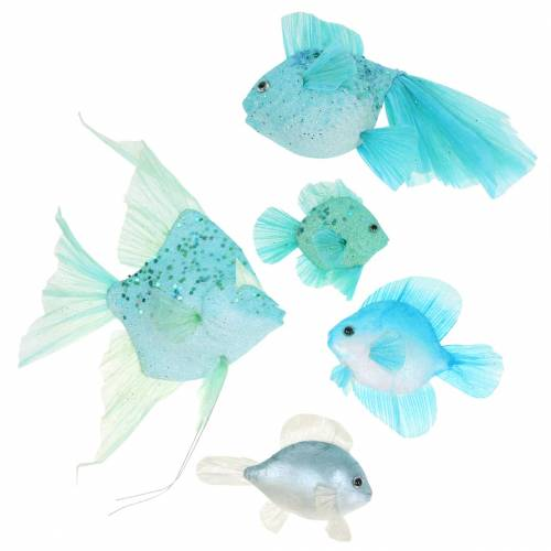 Decorative fish to hang blue turquoise green gray 10-22cm 5pcs